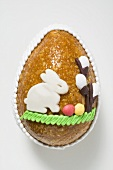 Baked Easter egg with marzipan decoration