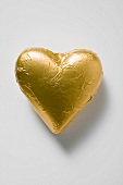 Chocolate heart in gold foil