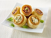 Puff pastry cases with various fillings