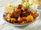 Jalfrezi (spicy meat curry, India), with flatbread