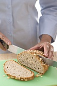 Slicing wholemeal bread