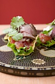 Tacos with beef and tomato filling