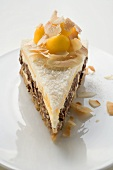 Piece of Creole cake with mango and pecans