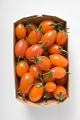 Cherry tomatoes in woodchip basket