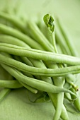 French beans on green background (detail)