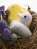 Easter sweets (chicks) in nest