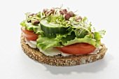 Wholemeal bread topped with tomato, cucumber, lettuce & sprouts