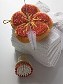Sponge, brushes and towels