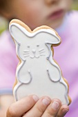 Child holding Easter Bunny biscuit