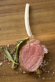 Lamb chop with rosemary and salt