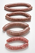 Various types of sausages