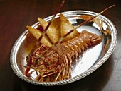 Cooked spiny lobster with toast on silver platter