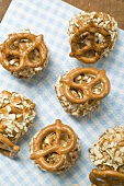 Small balls of Obatzda (Camembert spread) with pretzels