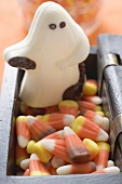 White chocolate ghost and candy corn for Halloween