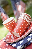 Paper cups, plates and napkins for the 4th of July (USA)