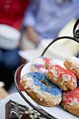 Doughnuts and brownies on tiered stand (4th of July, USA)