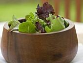 Gemischte Salatblätter in Holzschüssel