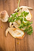 Fried cep slices and fresh parsley