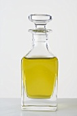 Olive oil in a small glass bottle