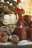 Christmas decorations on wooden table (detail)