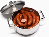 Sausages (Polish) in a pan