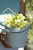 Woman holding green grapes in a wooden bucket