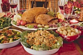 Turkey with all the trimmings on Christmas table (USA)