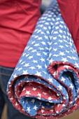 Frau hält Picknickdecke (4th of July, USA)