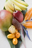 Assorted exotic fruits on banana leaf