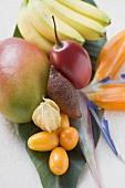 Assorted exotic fruits on banana leaf