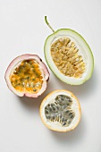 Various types of passion fruit, halved