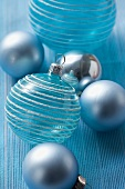 Christmas tree baubles (turquoise and silver)