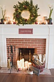 Fireplace decorated for Christmas in living room