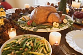 Turkey and beans with almonds on Christmas table (USA)