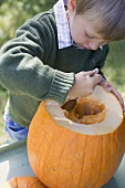 Small boy hollowing out pumpkin with spoon