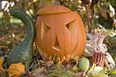 Carved pumpkin face in garden