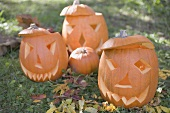 Carved pumpkin faces in garden