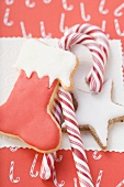 Cinnamon star, boot and candy canes (overhead view)
