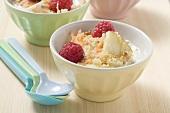 Fruit muesli in three bowls