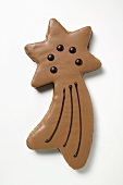 Shooting star biscuit with chocolate icing