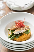 Pangasius fillet with asparagus and sweet potato puree