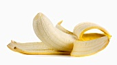 Banana, half-peeled
