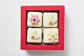 Petit fours in red box (for Christmas)