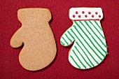 Christmas biscuits with and without icing (mittens)