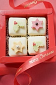 Four petit fours in red box (for Christmas)