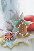 Christmas biscuits, peppermint and Christmas decoration