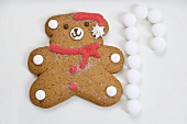 Christmas biscuit (teddy bear) and white sweets