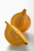Orange pumpkin (Hokkaido), cut into two pieces