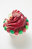 Cupcake, decorated with Christmas sweets