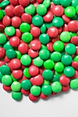 Red and green chocolate beans